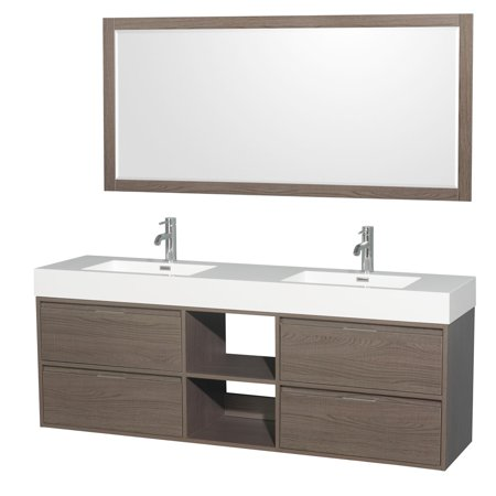 Wyndham Collection  Daniella 72-inch Double Vanity, Acrylic Resin Countertop, Integrated Sinks, 70-inch