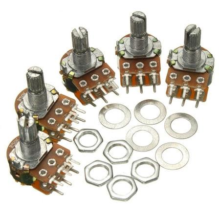 M.way 5X B50K 50K Ohm6 Pins Split Shaft Rotary Adjust Linear Dual Taper Potentiometers