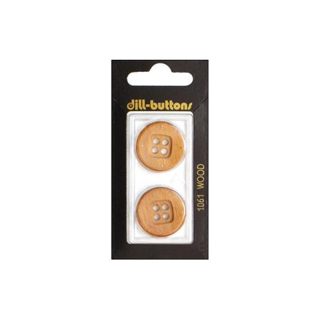 Wool Brass Button (Dill Buttons 23mm 2pc 4 Hole Wood Brown)