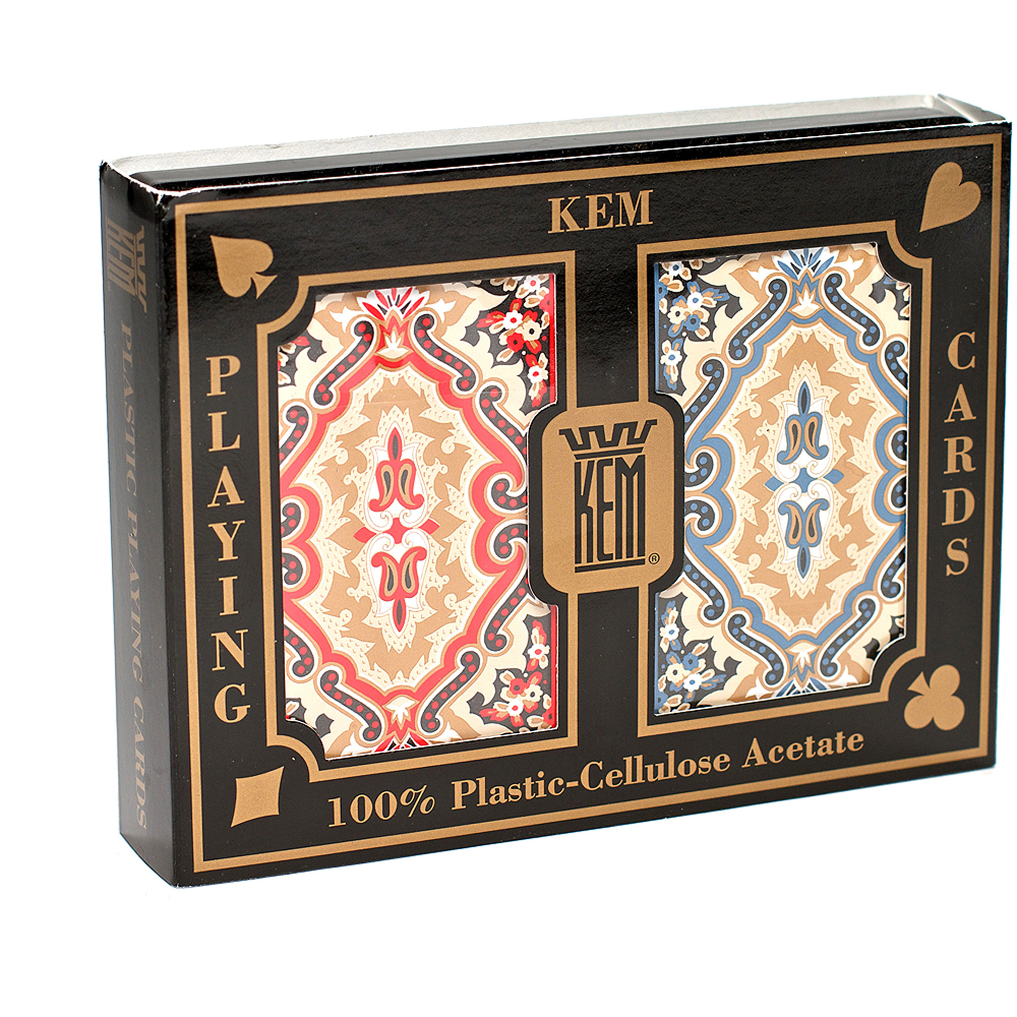 KEM Paisley Red and Blue Playing Cards, Narrow Jumbo by US Playing Card Company
