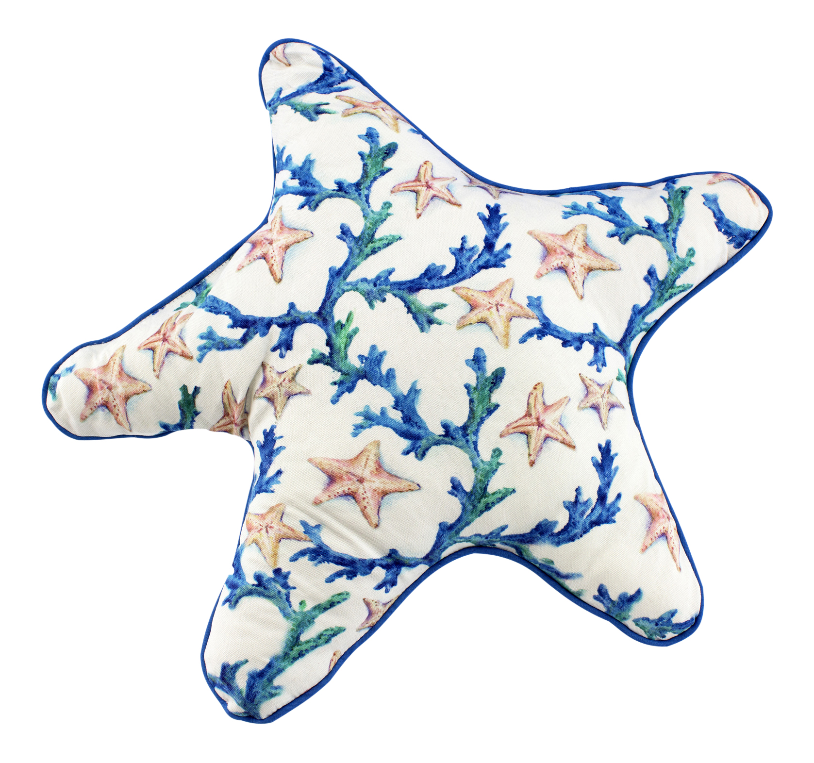 Starfish Shaped Sea Star and Coral Fabric 18 Inch Decorative Throw Pillow