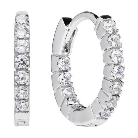 Cts Diamond Hoop (14K Solid White Gold Round Cut Huggie Hoop Cubic Zirconia Earrings 12mm (.20 CTW, Diamond Equivalent), With Gift Box )