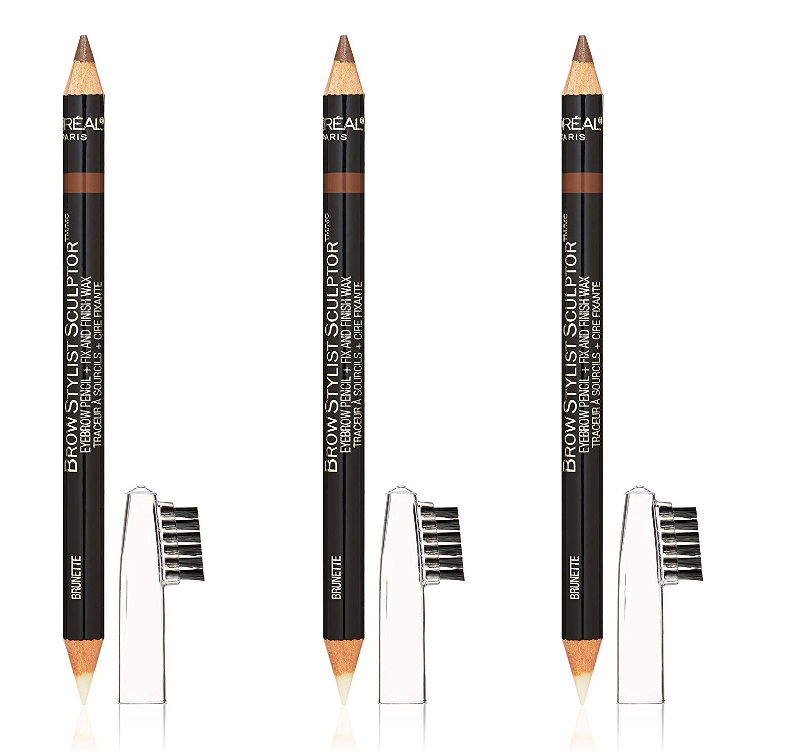 L'Oreal Brow Stylist Sculptor 3 in 1 Brow Tool/Liner, Brunette #360 (Pack of 3)