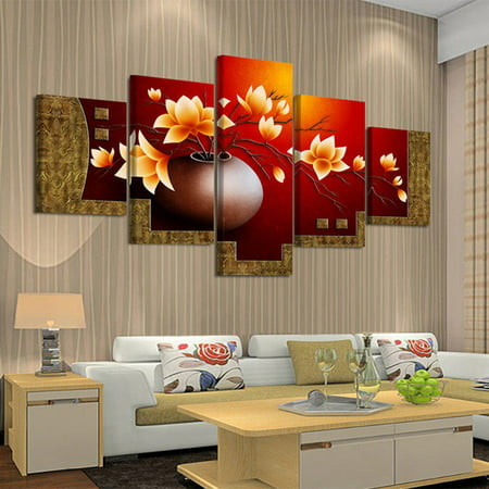 5 Piece Picture Flower Vase Canvas Art Print Oil Painting Living Room Paintings ()