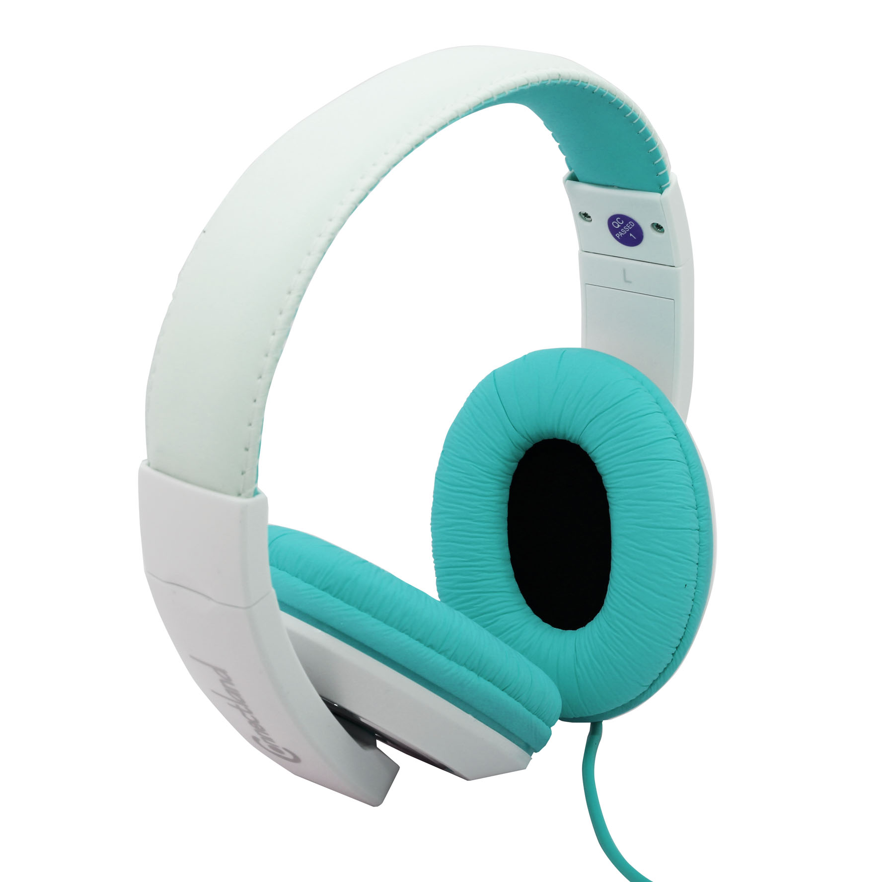 Over The Ear Stereo Kids Mobile Wired Headphone with in-Line Microphone Headphone White Red
