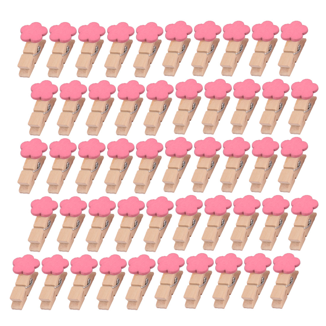 Wooden Flower Shaped DIY Decoration Picture Photo Painting Clip Pink 50 Pcs