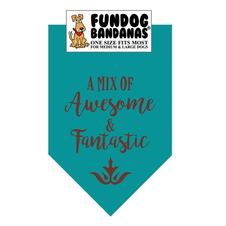 Fun Dog Bandana -A Mix of Awesome & Fantastic - One Size Fits Most for Medium to Large Dogs, teal pet scarf - Halloween Dog Bandanas Uk