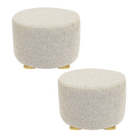 Peace Ottoman - DL furniture - 2 Piece Round Ottoman Foot Stool, 4 Leg Stands, Short Leg, Round Shape | Linen Fabric. Beige