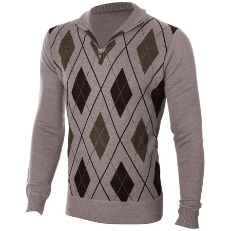 Enimay Mens Argyle V-Neck Golf Long Sleeve Sweater (Many Colors Available) Casual Argyle Beige Size S (Argyle Pattern Sweater)