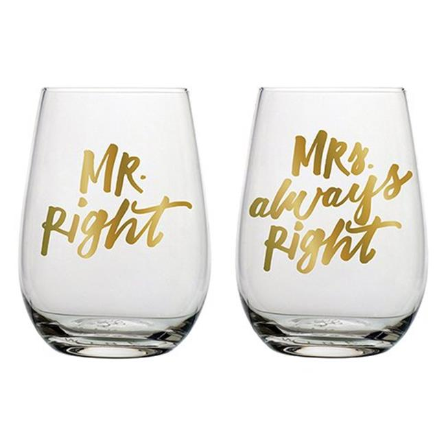 Wine Glass Favor Boxes Not Included MAE23S Mr Right and Mrs always right Personalized Stemless 9 OZ 24 pcs