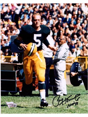 """Paul Hornung Green Bay Packers Autographed 8"""" x 10"""" Running with Helmet in Hand Photograph with """"HOF 86"""" Inscription - Fanatics Authentic Certified"""