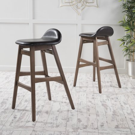 Tremendous Noble House Morgan Mid Century Modern Faux Leather Bar Stools Set Of 2 Walnut Dark Brown Evergreenethics Interior Chair Design Evergreenethicsorg