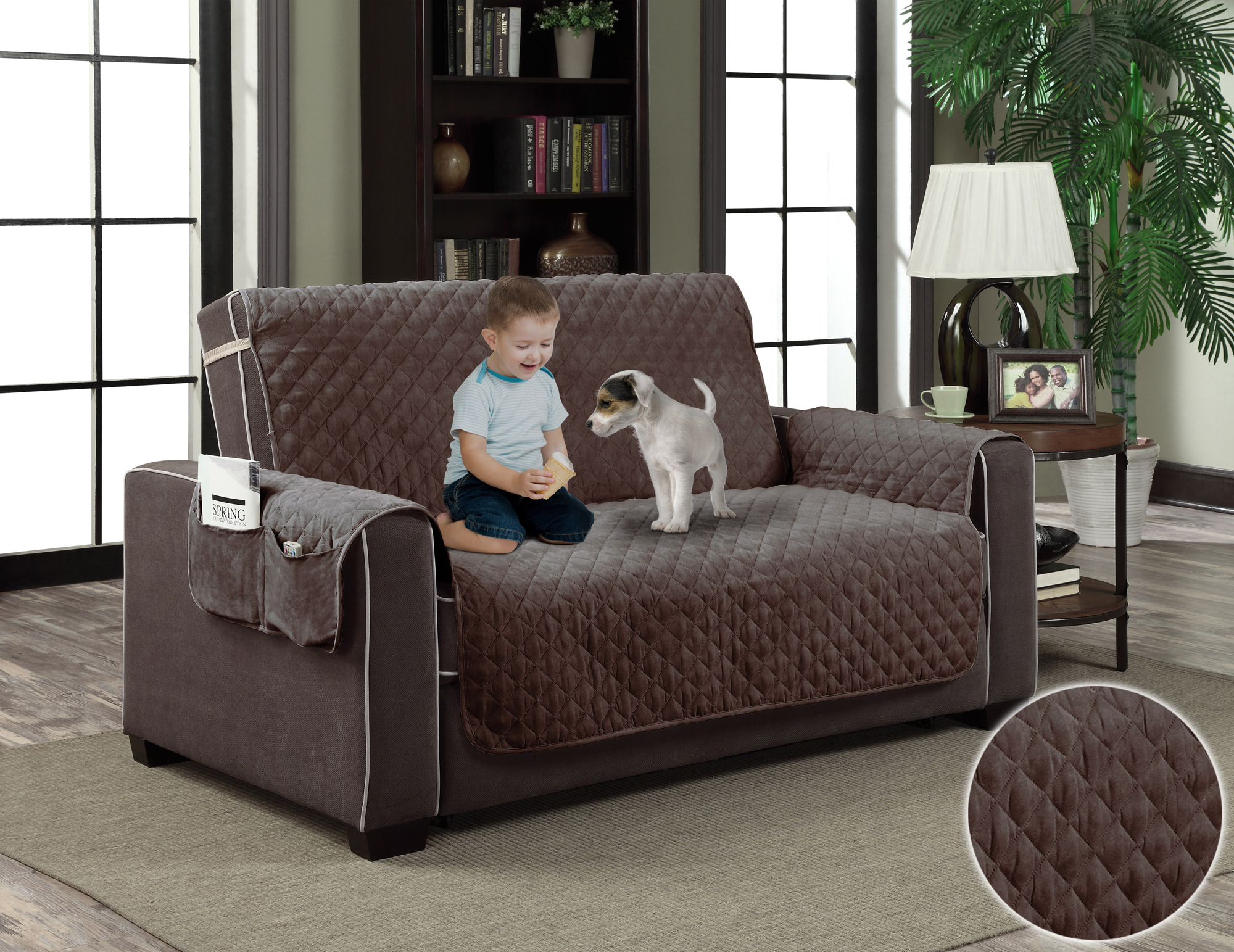 Brown micro suede slipcover pet dog cat furniture couch cover protector with pockets walmart com
