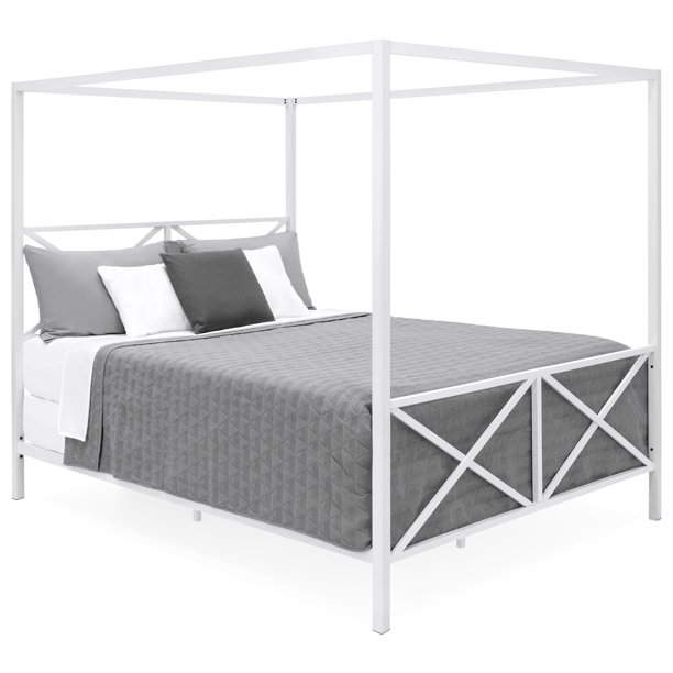 Best Choice Products Modern 4 Post Canopy Queen Bed w/ Metal Frame, Mattress Support, Headboard, Footboard - White