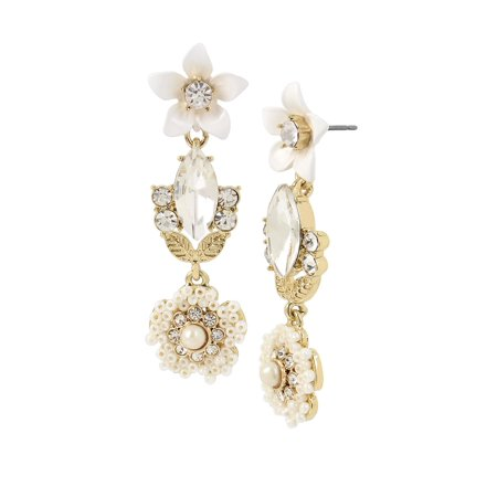 Vintage Pearl White Flower Crystal and Faux Pearl Drop Earrings Bridal White Faux Pearl