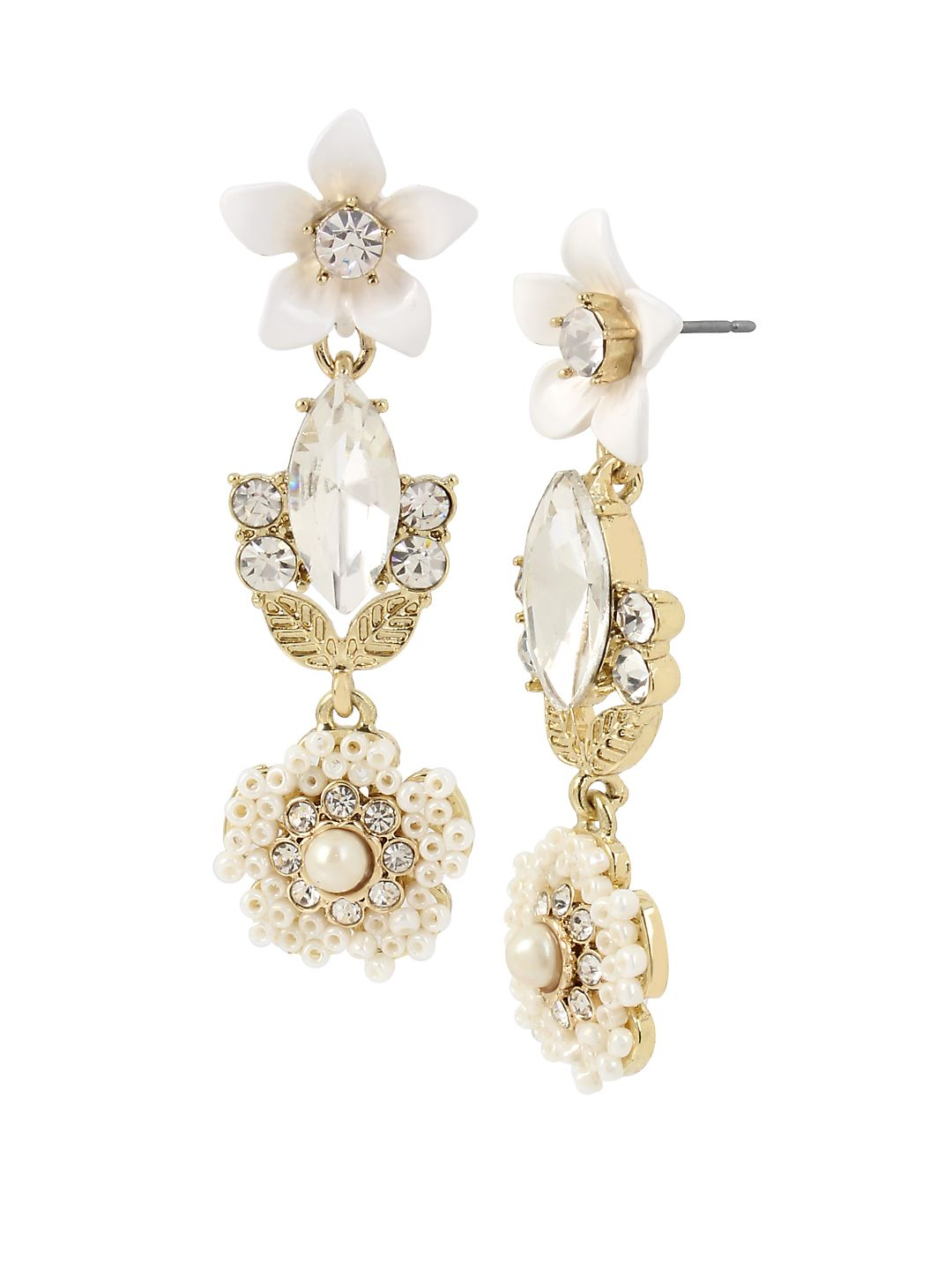 Vintage Pearl White Flower Crystal and Faux Pearl Drop Earrings