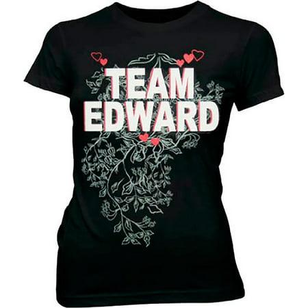 Twilight Team Edward Vampire Black Juniors T Shirt