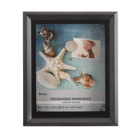Darice Black Wood Shadowbox with Glass Cover, 8 x 10 Inches Glass Wood Shadow Box