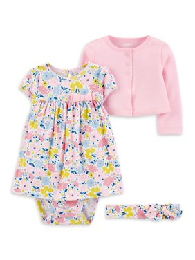 Child of Mine by Carter's Baby Girl Long Sleeve Cardigan, Dress & Headband, 3pc Outfit Set