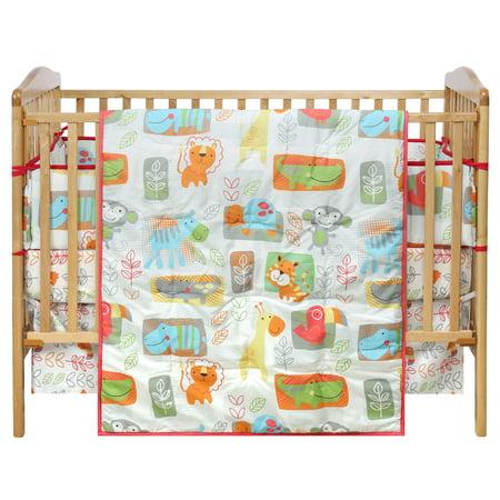 - Light Fern Green Kids Jungle WooHoo Polyester Blend Nature Print Crib Quilt Set (Crib Quilt, Sheet, Bed Skirt, Bumper)