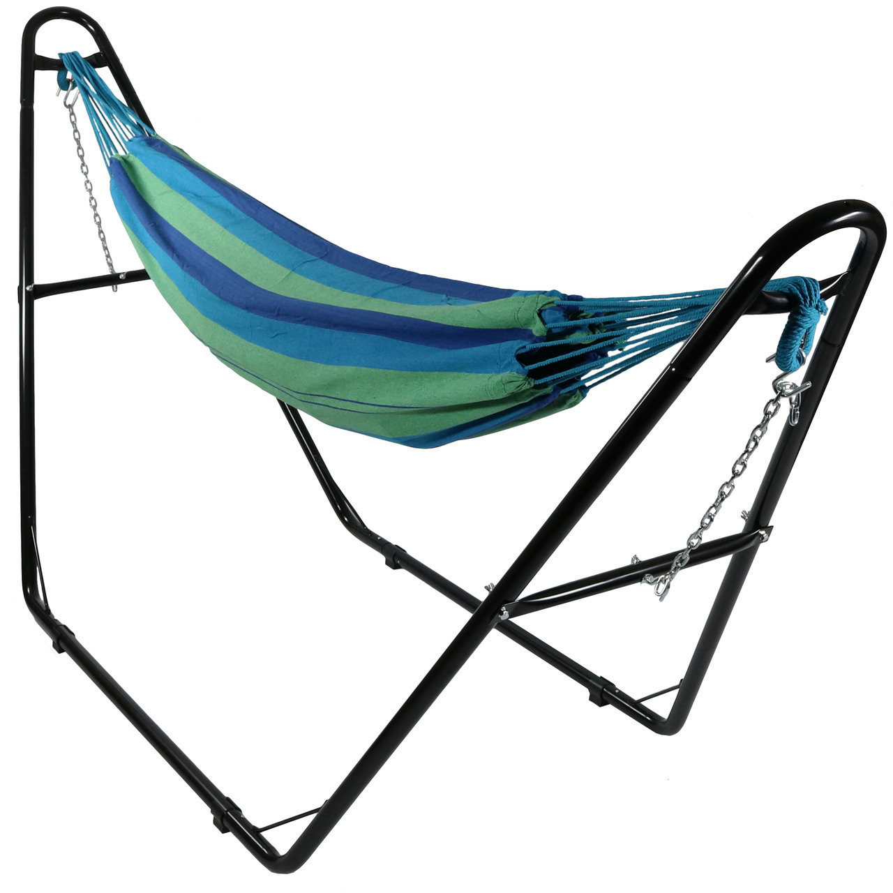 Sunnydaze Brazilian 2-Person Hammock with Universal Multi-Use Steel Stand, Indoor/Outdoor Use, 450 Pound Capacity, Calming Desert