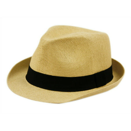 Fedora Hat Short Brim Cuban Trilby Summer Beach Sun Gangster Paper Straw Men or Women (Hat Summer)