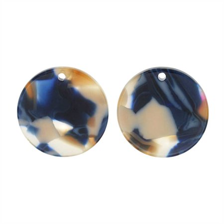 Zola Elements Acetate Pendant, Twilight Coin 20mm, 2 Pieces, Blue