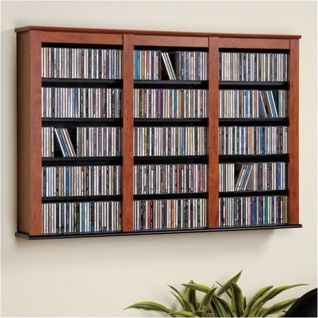 Bowery Hill Triple Floating Media Wall Storage in Cherry and Black