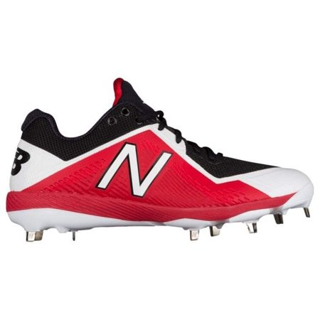 new balance men's l4040v4 metal baseball shoe, black/red, 7.5 d