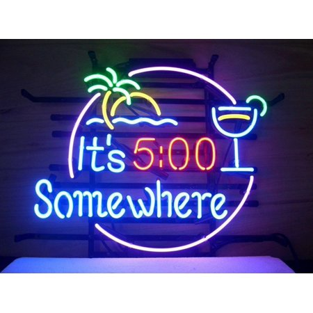 Desung Brand New It's 5 O'Clock Somewhere Neon Sign Handcrafted Real Glass Beer Bar Pub Man Cave Light Sign 24