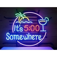 """Desung Brand New It's 5 O'Clock Somewhere Neon Sign Handcrafted Real Glass Beer Bar Pub Man Cave Light Sign 24""""x 20"""" WM01"""