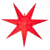 """Wintergreen Lighting Fold-Flat 7-Point Star Light - Hanging Star - Christmas Star Light Decoration/Battery-Powered with Timer (24"""", Red)"""