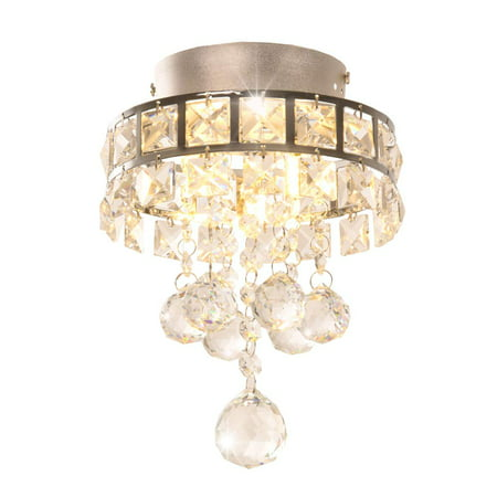 Mini Style 3-Light Chrome Finish Flush Mount Chandelier