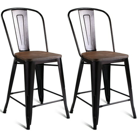 Gymax 2 PC Metal Wood Counter Stool Kitchen Dining Bar Chairs ()