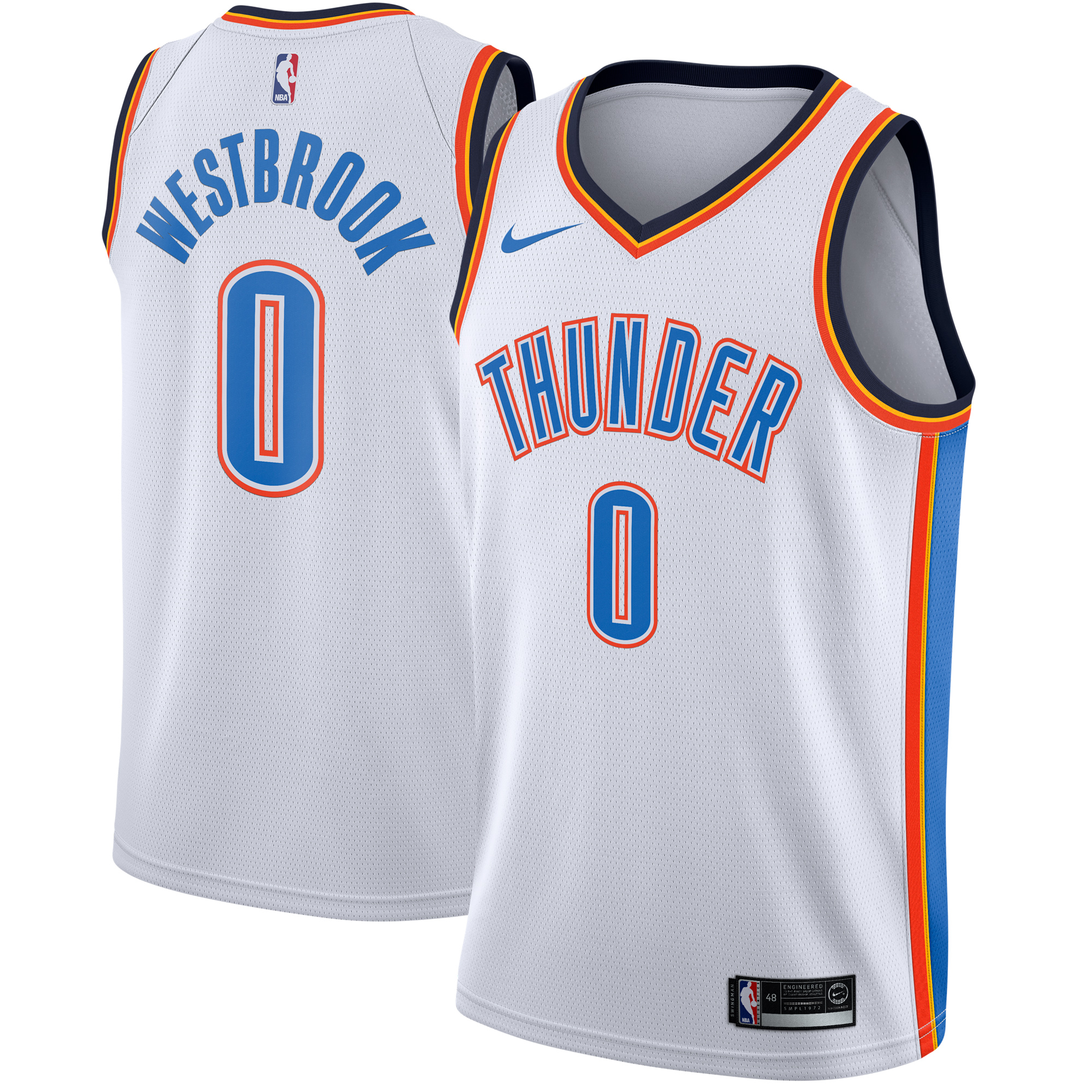Russell Westbrook Oklahoma City Thunder Nike Swingman Jersey White - Association Edition