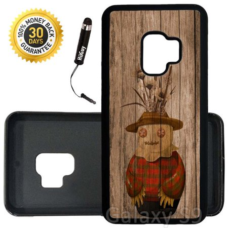Custom Galaxy S9 Case (Cute Scarecrow On Wood) Edge-to-Edge Rubber Black Cover Ultra Slim | Lightweight | Includes Stylus Pen by Innosub - Cute Scarecrow