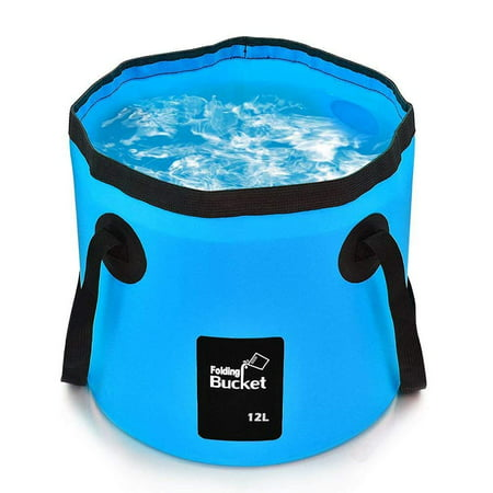Collapsible Bucket Camping Water Storage Container 12L Portable Folding Bucket Wash Basin for Traveling Hiking Fishing Boating Gardening(Blue) - Collapsible Halloween Bucket