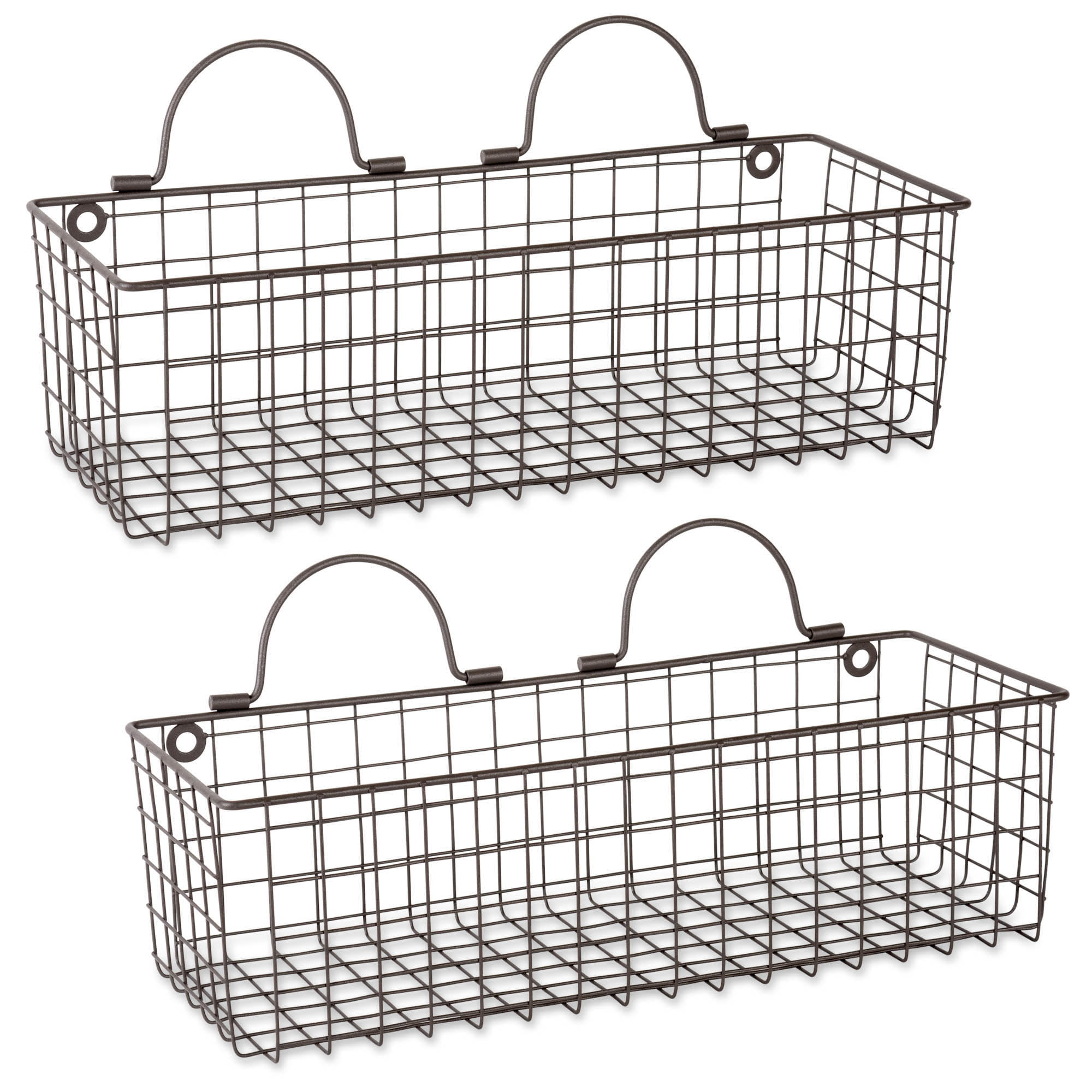 Honey and Me Antique Farmhouse Silver 17 x 13 Inch Metal Hanging Decorative Flower Wall Baskets 3 Piece Set
