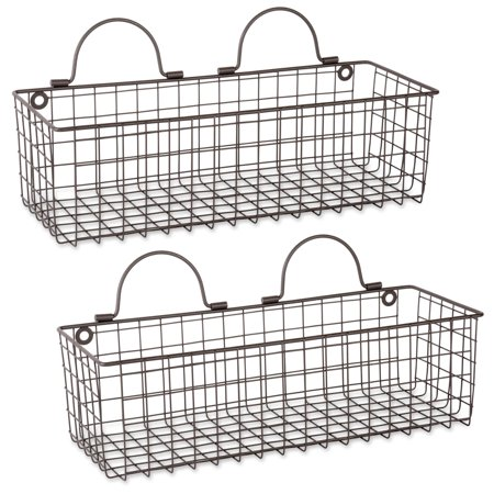 DII Z02020 Rustic Farmhouse Vintage Hanging Wall Mounted Wire Metal Basket, Set of 2 Medium, Bronze ()