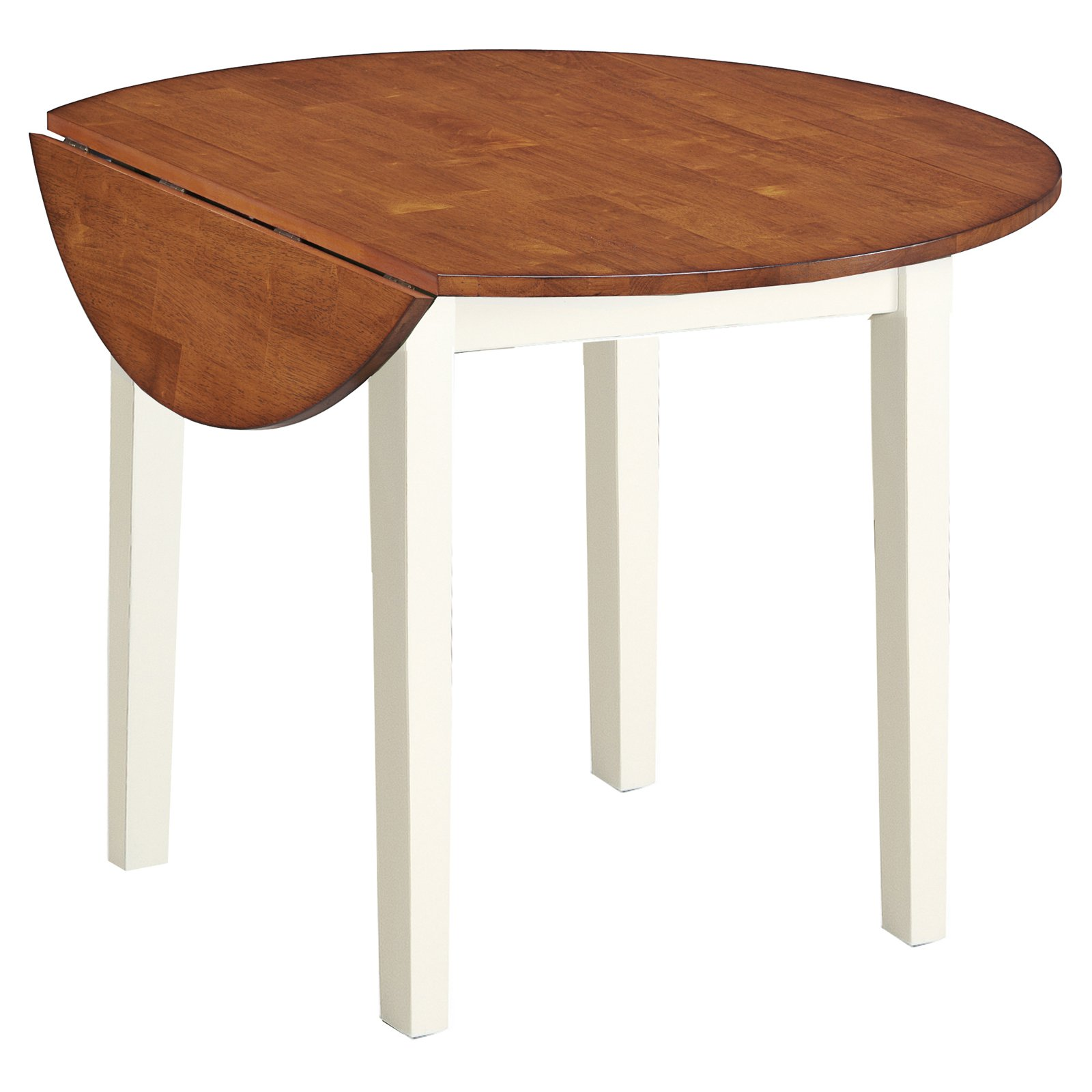 Imagio Home Drop Leaf Arlington Dining Table, White and Java