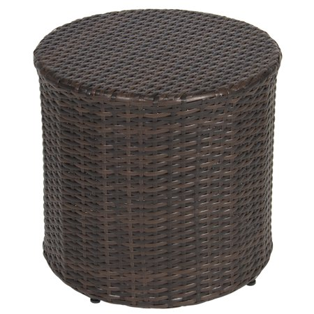 Pine Rattan Table - Best Choice Products Outdoor Round Wicker Rattan Barrel Side Table Patio Furniture with Storage and Steel Frame, Brown