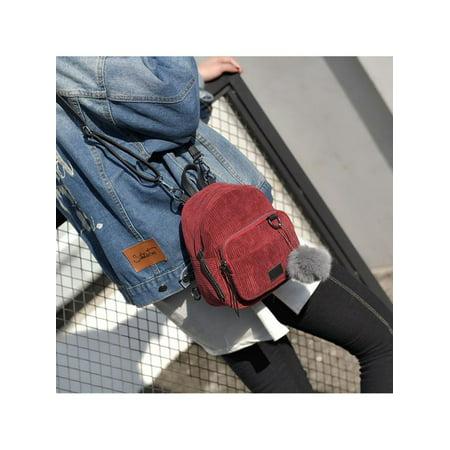 Corduroy Laminated Buckle Bag (Mini Women Travel Simple Canvas Backpacks for Adults Schoolbag Corduroy Bag)