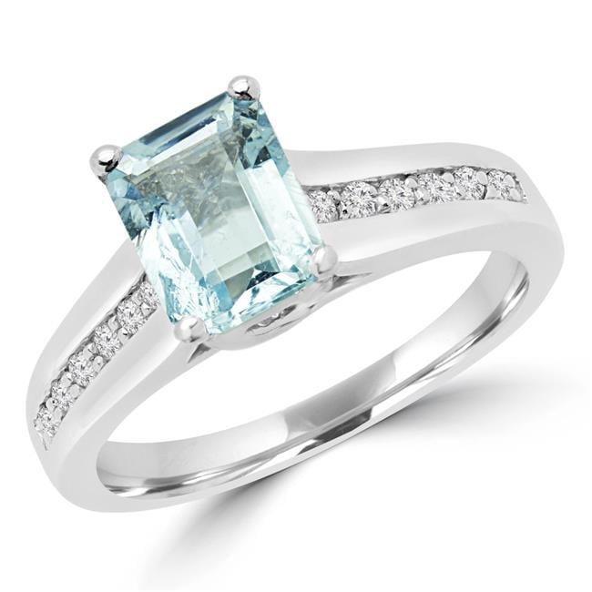 Majesty Diamonds MD170171-4.5 1.37 CTW Emerald Blue Aquamarine Cocktail Ring in 14K White Gold - 4.5 - image 1 de 1