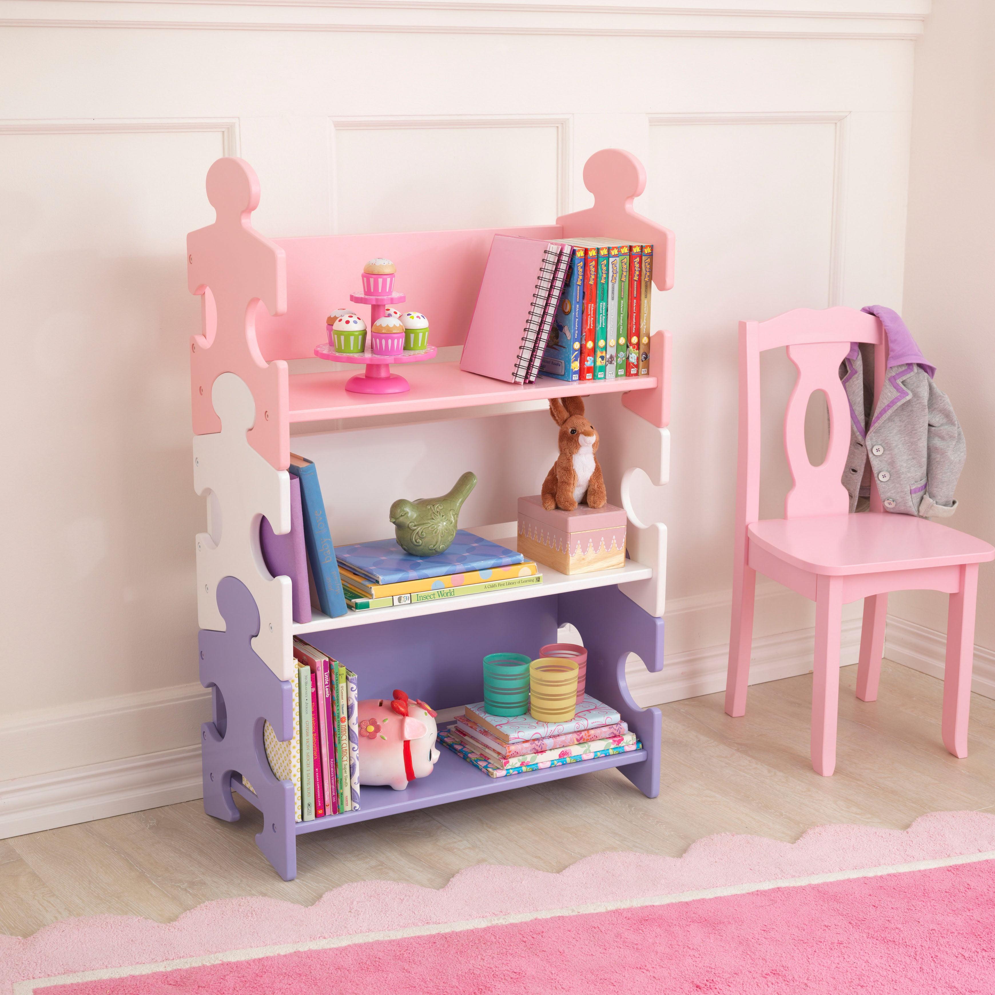 KidKraft Puzzle Bookshelf, Red/Blue/Green or Purple/White/Pink