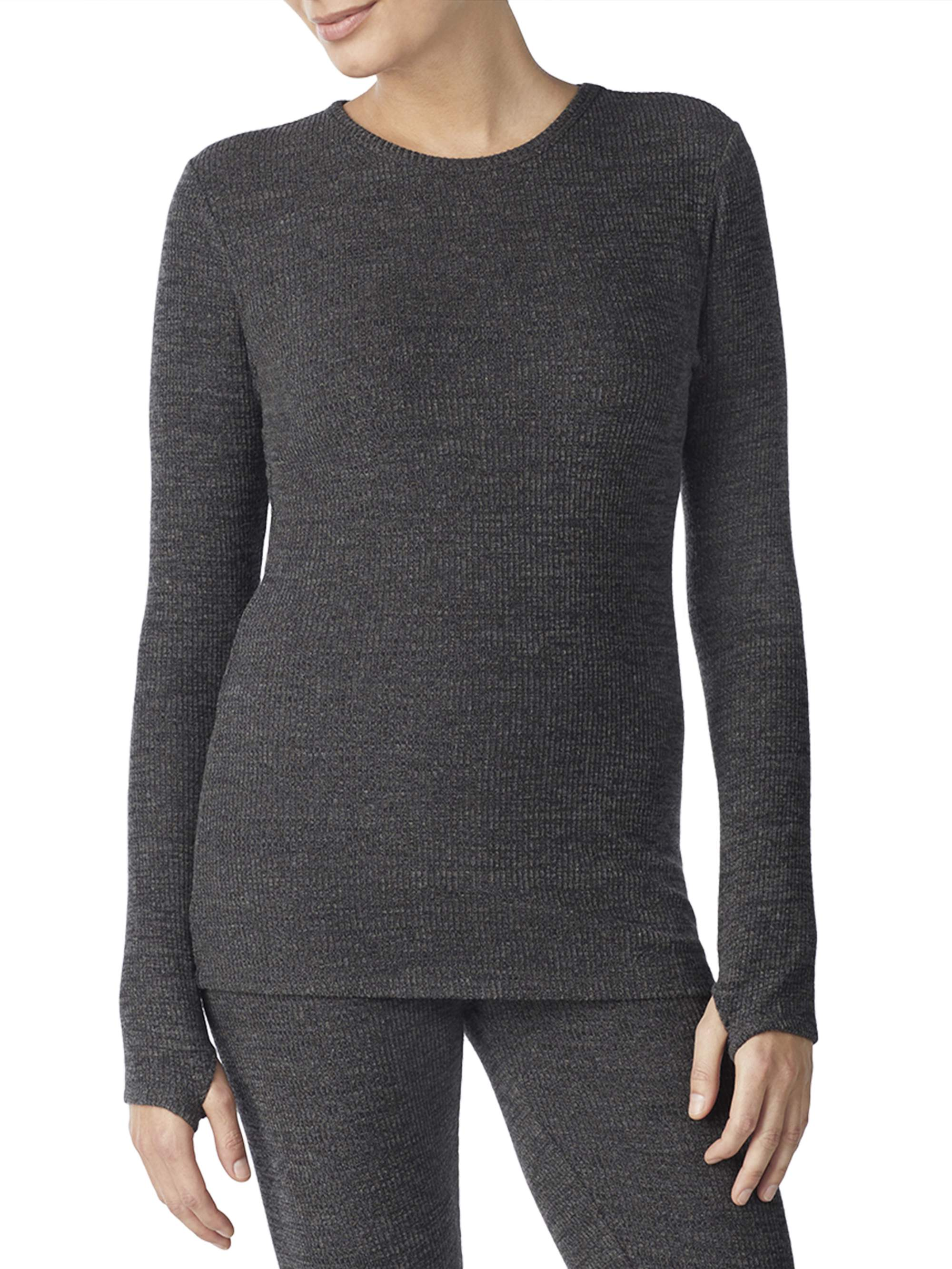 Women's Long Sleeve Brushed Sweater Knit Crew Neck Top