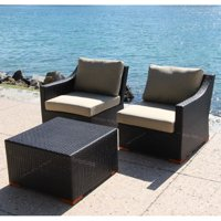 Bellini Home and Gardens Teana Wicker 3 Piece Patio Deep Seating Chat Set