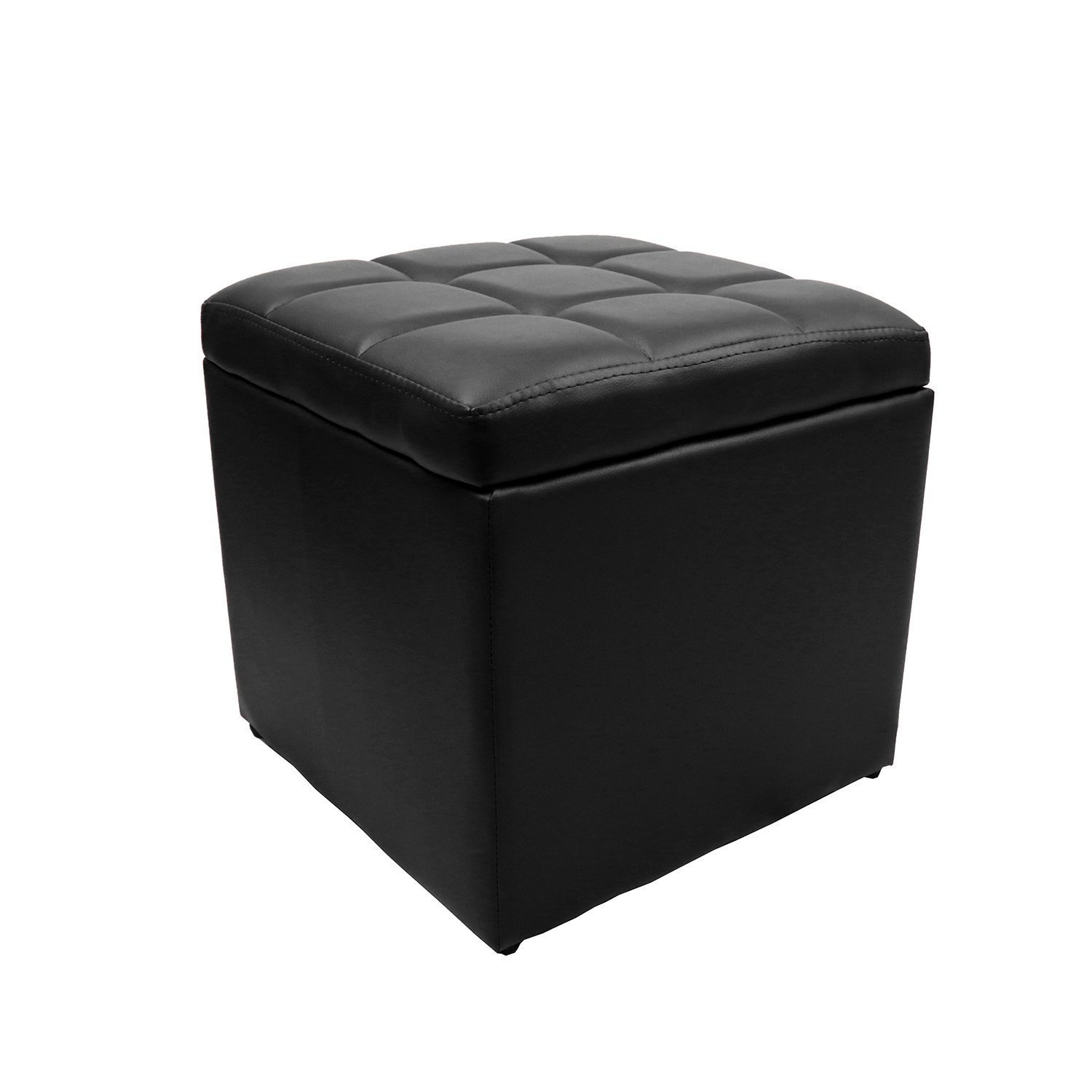 Delicieux Product Image 16u0027u0027 Square Unfold Leather Hinged Storage Ottoman Bench  Footstool Cocktail Seat Black
