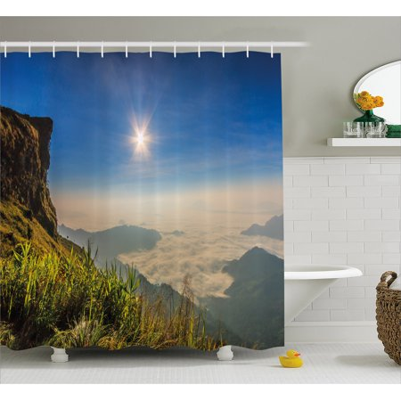 Landscape Shower Curtain  Mother Nature Inspired Cliff Mountain Wiev From The Peak Sunbeams Clouds Photo  Fabric Bathroom Set With Hooks  69W X 84L Inches Extra Long  Multicolor  By Ambesonne