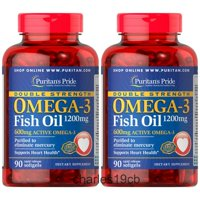 Puritan's Pride Double Strength Omega-3 Fish Oil 1200 mg/600 mg 90 softgels DHA (2 PACK)