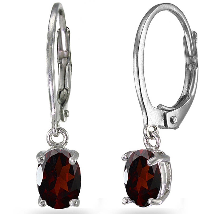 Garnet Sterling Silver 7mm x 5mm Oval Dangle Leverback Earrings